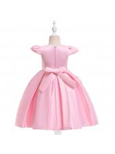 Satin Patchwork Solid Girls Flower Dresses