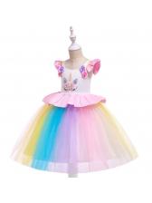 Patchwork Contrasting Colors Flower Girls Dresses