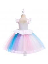 Patchwork Contrasting Colors Flower Girls Dresses