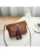Whoelsale7 Solid Tassel Flap Crossbody Bag
