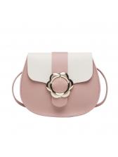 Contrast Color Metal Belt Hasp Shoulder Bag