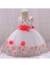 Sleeveless Stereo Flower Gauze Dresses For Girl