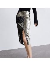 High Waist Split Hem Sequin Skirt For Women