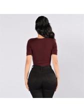 Deep V Neck Short Sleeve Solid Bodysuit For Women