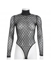 High Neck Diamond Pattern Perspective Bodysuit