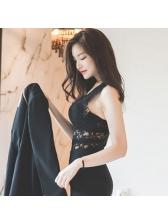 Sexy Lace V-Neck Black Tanks