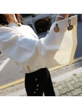 New Arrival Flare Sleeve White Sweatshirt