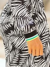 Fashion One Shoulder Striped Leave Print Jumpsuit