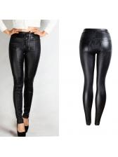 Euro Hot Sale Lace Up Black Pu Pencil Pants