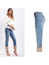 Faux Fur Hem Patchwork High Waist Wide Leg Jean