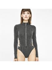 Stylish Backless Zipper Stand Neck Bodysuits