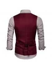 Fashion Single-breasted V Neck Men Waistcoat