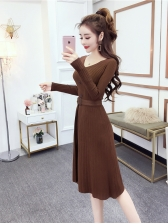 Ladies V Neck Buttons Knitted Dresses