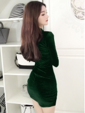 Vintage Slit Bodycon Velvet Dress