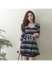 Striped Color Block Bow Women Dresses