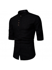 Stand Neck Single-Breasted Solid Shirt For Men