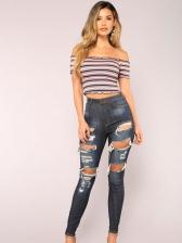 Chic Dark Blue Skinny Distressed Jeans