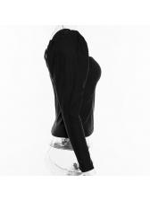 Square Neck Puff Sleeve Black T-Shirt