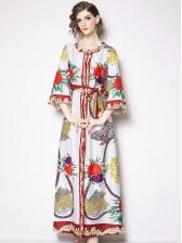 Binding Bow Loose Print Vintage Long Maxi Dress