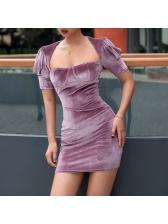 Solid Square Neck Puff Sleeve Mini Dress