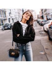 Chic Lace Up Crop Black Coat