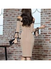 Lace Patchwork Flare Sleeve Off The Shoulder Dress
