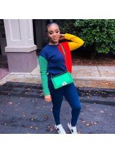 Euro Crew Neck Contrast Color Sweatshirt For Women