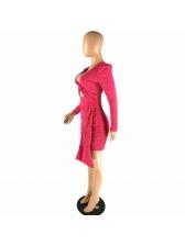 Deep V Neck Hollow Out Asymmetrical Mini Dress