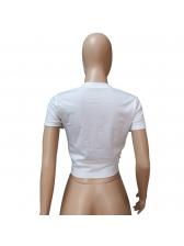 Hot Sale Binding Letter White T-Shirt