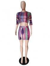 Half Sleeve Printed Skirt Woman Co-Ords
