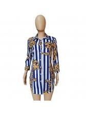 Striped Printed Turndown Neck Shirt Dresses