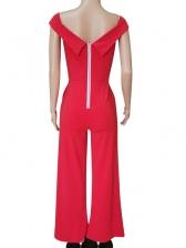 Summer V-Neck Slit Zipper Lady Jumpsuits