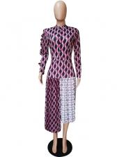 Fall Printed Pleated Irregular Maxi Dresses