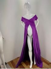 Off Shoulder Split Maternity Maxi Dress