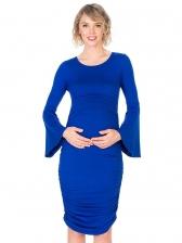 Flare Sleeve Pleated Maternity Dress