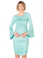 Maternity Crew Neck Pleated Dress
