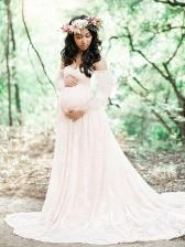 Off Shoulder Lace Maternity Maxi Dress