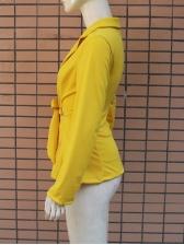 Sexy Lapel Tie-Wrap Fitted Yellow Womens Blazer