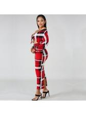 Low-Cut Hollow Out Plaid Ladies Maxi Dress