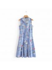 Floral Turndown Collar Sleeveless Striped Dress