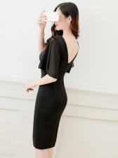 Sexy Backless V Neck Pencil Dress