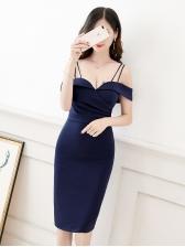Off Shoulder Deep V Bodycon Dress