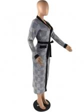 Plaid Color Block Tie-wrap Ladies Maxi Dress