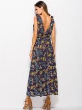 Sexy Deep V Neck Floral Split Hem Maxi Dress