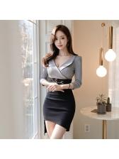 OL Irregular Chain Contrasting Colors Gray Dresses