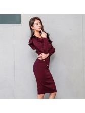 Korean Design Ruffles Patchwork Long Sleeve Dresses