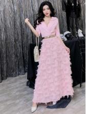 Elegant Tassels Solid Maxi Dresses With Belt