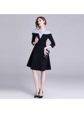 Striped Patchwork Dark Blue Long Sleeve Dresses