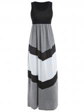 Color Block Scoop Neck Tank Long Maxi Dress