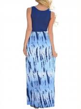 Printing Scoop Neck Tank Long Maxi Dress
